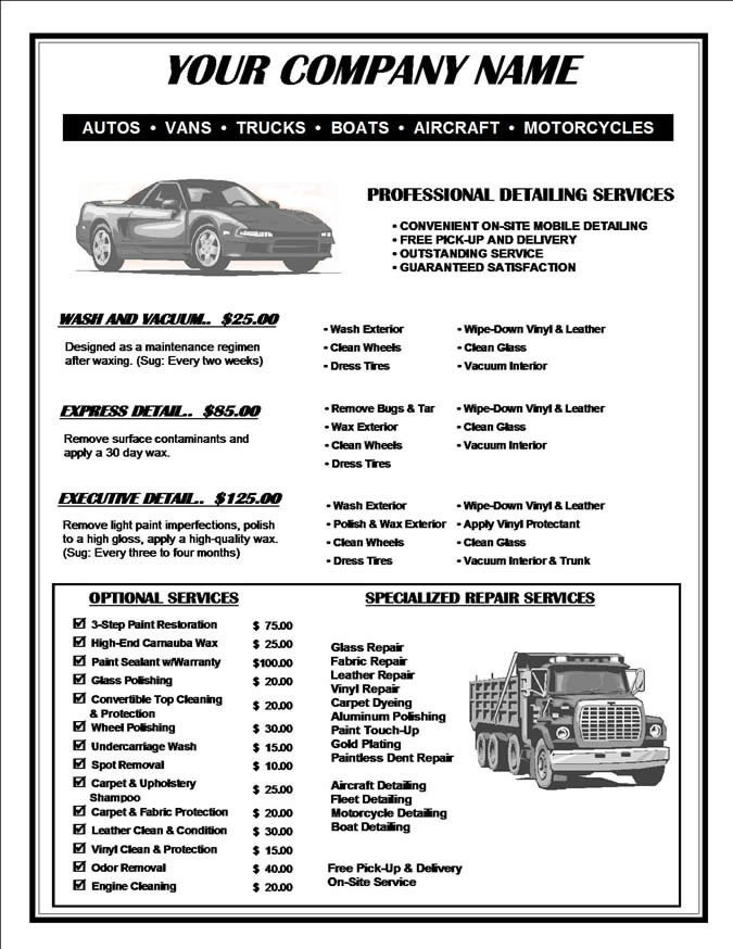 Auto Detail Price List Template Car Detailing Price List Template Image012 Templates