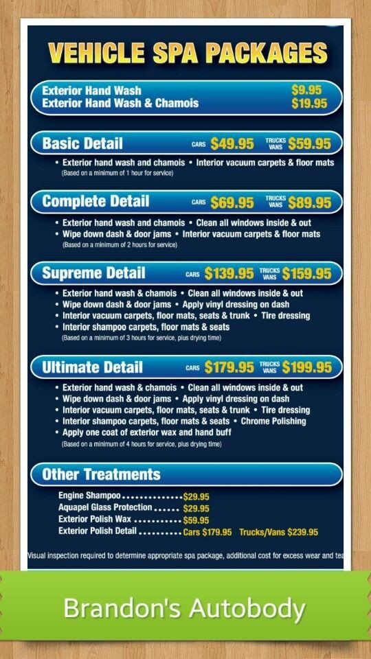 Auto Detail Price List Template Detailing Price List Car Detailing