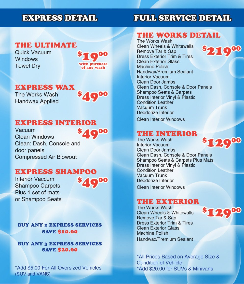 Auto Detail Price List Template How Much Does A normal Car Wash Cost