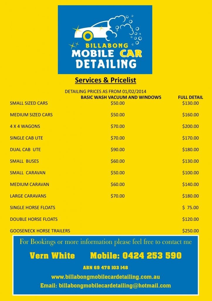 Auto Detail Price List Template Services & Pricelist