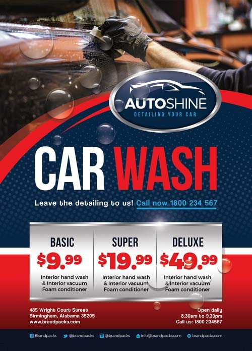 Auto Detailing Flyer Template Free Car Wash Business Flyer Template Download for Shop