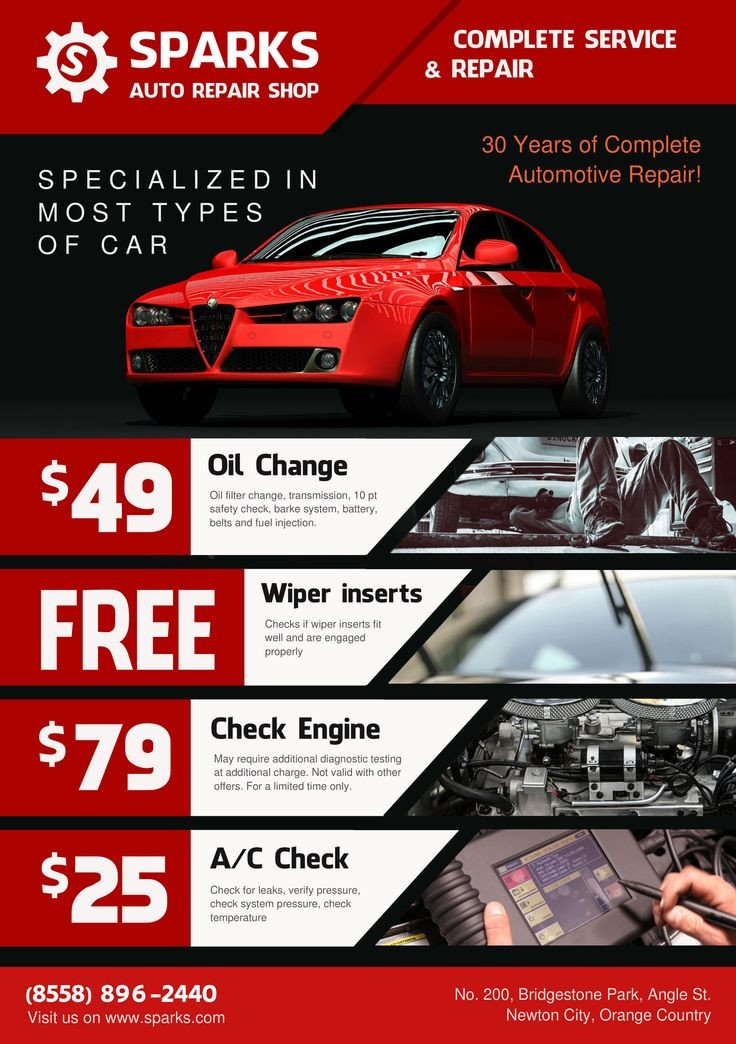 Auto Detailing Flyer Template Template for Flyer A5 Auto Repair Shop theme