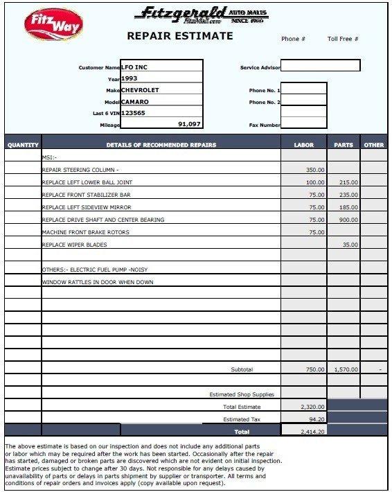 Auto Repair Estimate Template 13 Free Sample Auto Repair Estimate Templates Printable