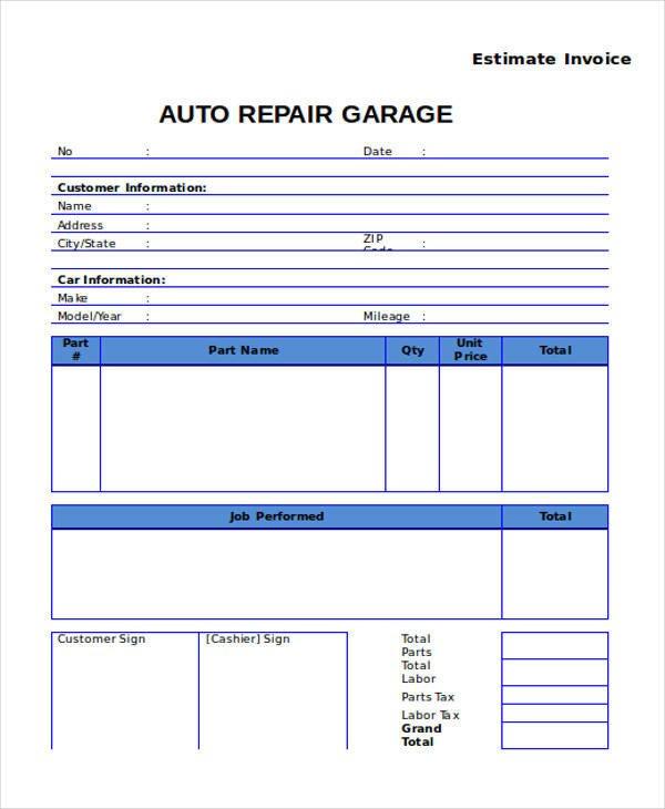 Auto Repair Estimate Template 9 Auto Repair Invoice Templates Free Word Pdf Excel