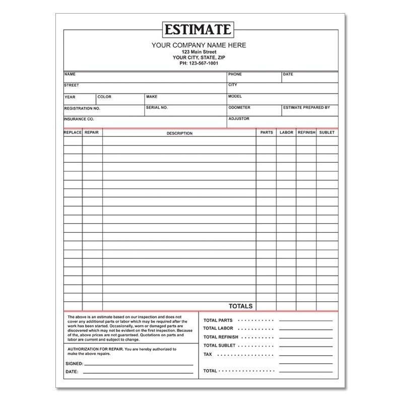 Auto Repair Estimate Template Auto Repair Invoice Work orders Custom Carbonless