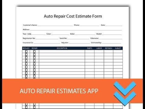 Auto Repair Estimate Template Free Auto Repair Estimates form Freedform