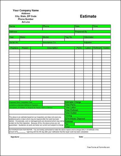 Auto Repair Estimate Template Free Automotive Estimate From formville
