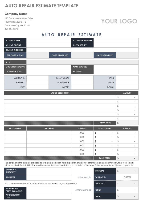 Auto Repair Estimate Template Free Estimate Templates