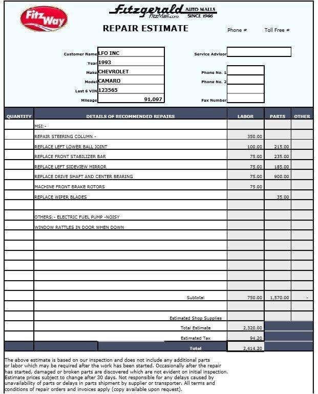 Auto Repair Estimates Templates 9 Free Sample Auto Repair Quotation Templates Printable