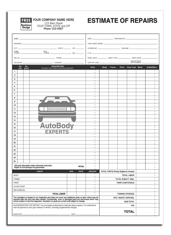 Auto Repair Estimates Templates Anchorside Carbonless form Templates