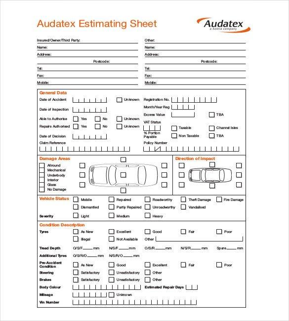 Auto Repair Estimates Templates Auto Body Repair Estimate forms Free