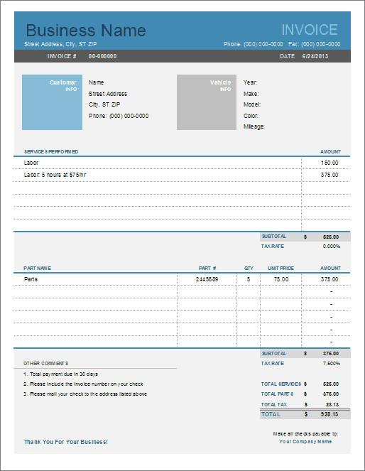 Auto Repair Invoice Template Auto Repair Invoice Template for Excel
