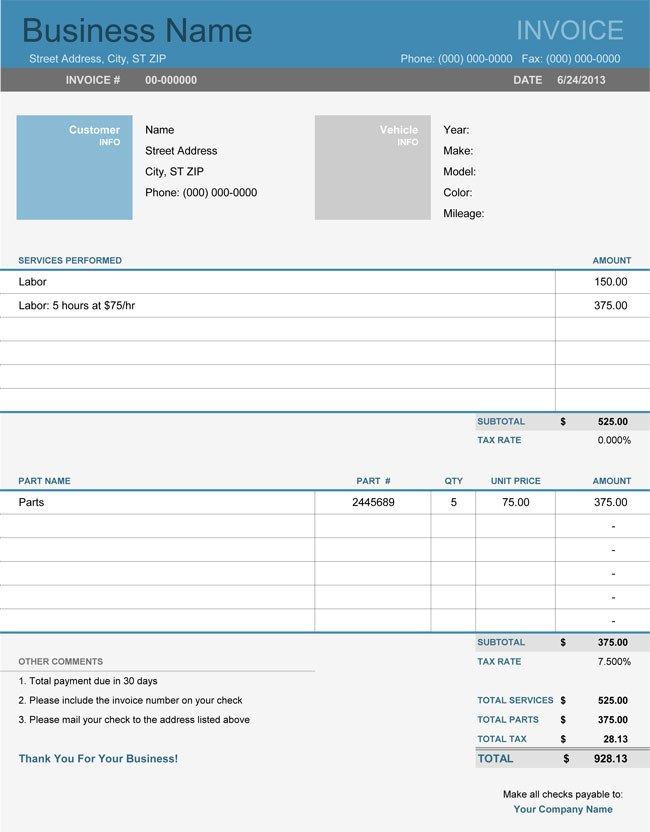 Auto Repair Invoice Template Auto Repair Invoice Templates 10 Printable and Fillable