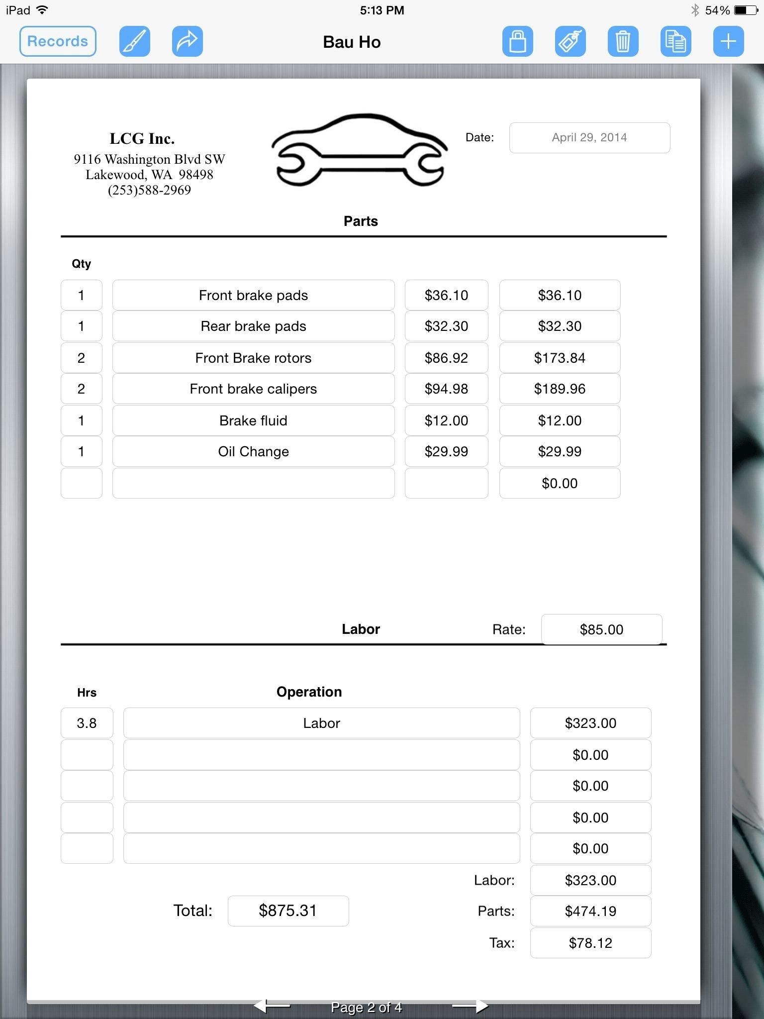 Auto Repair Invoice Templates Auto Repair Invoice Auto Repair Service Uses Ipad for