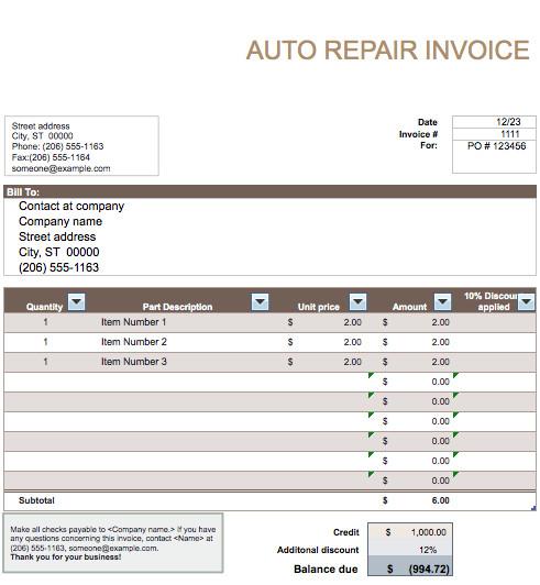 Auto Repair Invoice Templates Auto Repair Invoice Template Word