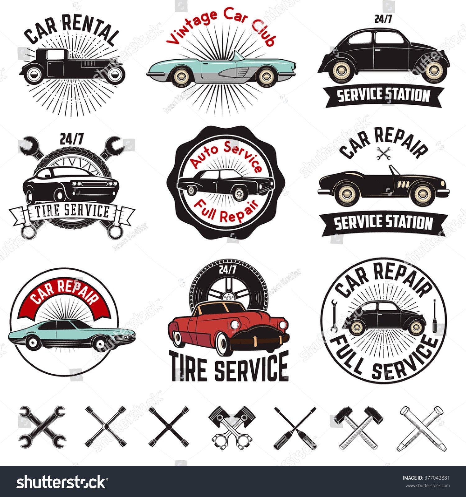 Auto Repair Logo Templates Set Car Repair Service Labels Retro Vector Design
