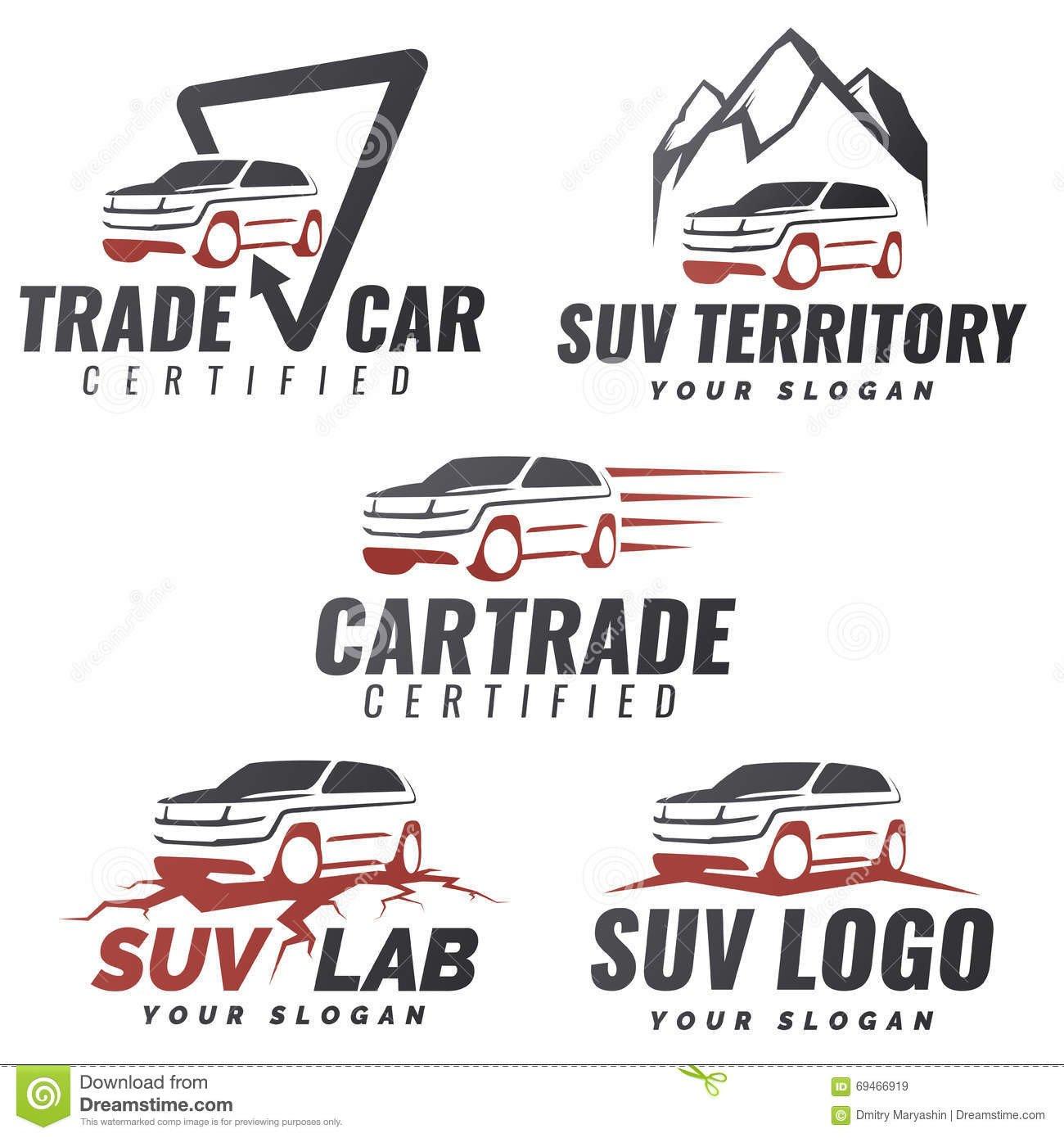 Auto Repair Logo Templates Set Suv Car Service Logo Templates Stock Vector