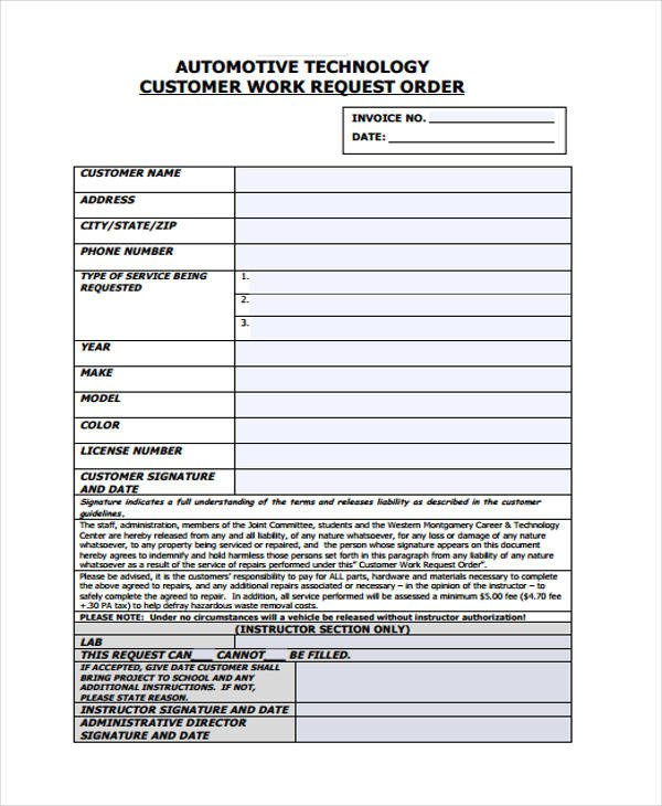 Auto Repair order Template 10 Work order Templates Pdf Apple Pages