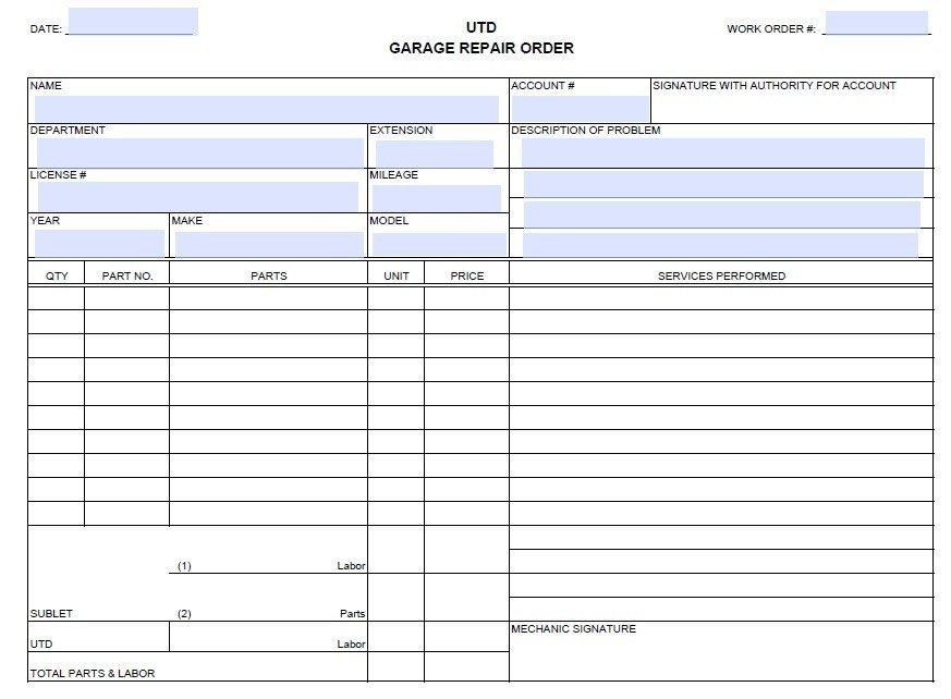 Auto Repair order Template 13 Free Sample Auto Repair Estimate Templates Printable