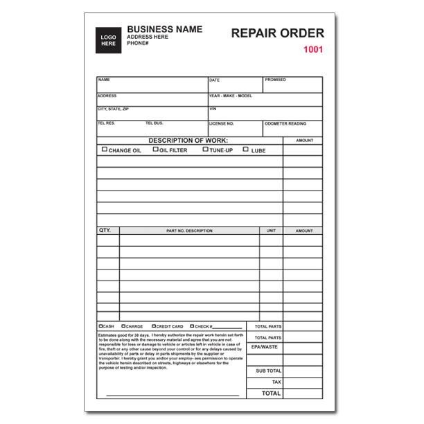 Auto Repair order Template Auto Repair Invoice Work orders Custom Carbonless