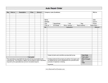 Auto Repair order Template Auto Repair order Template