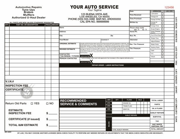 Auto Repair order Template Automotive Work order Template