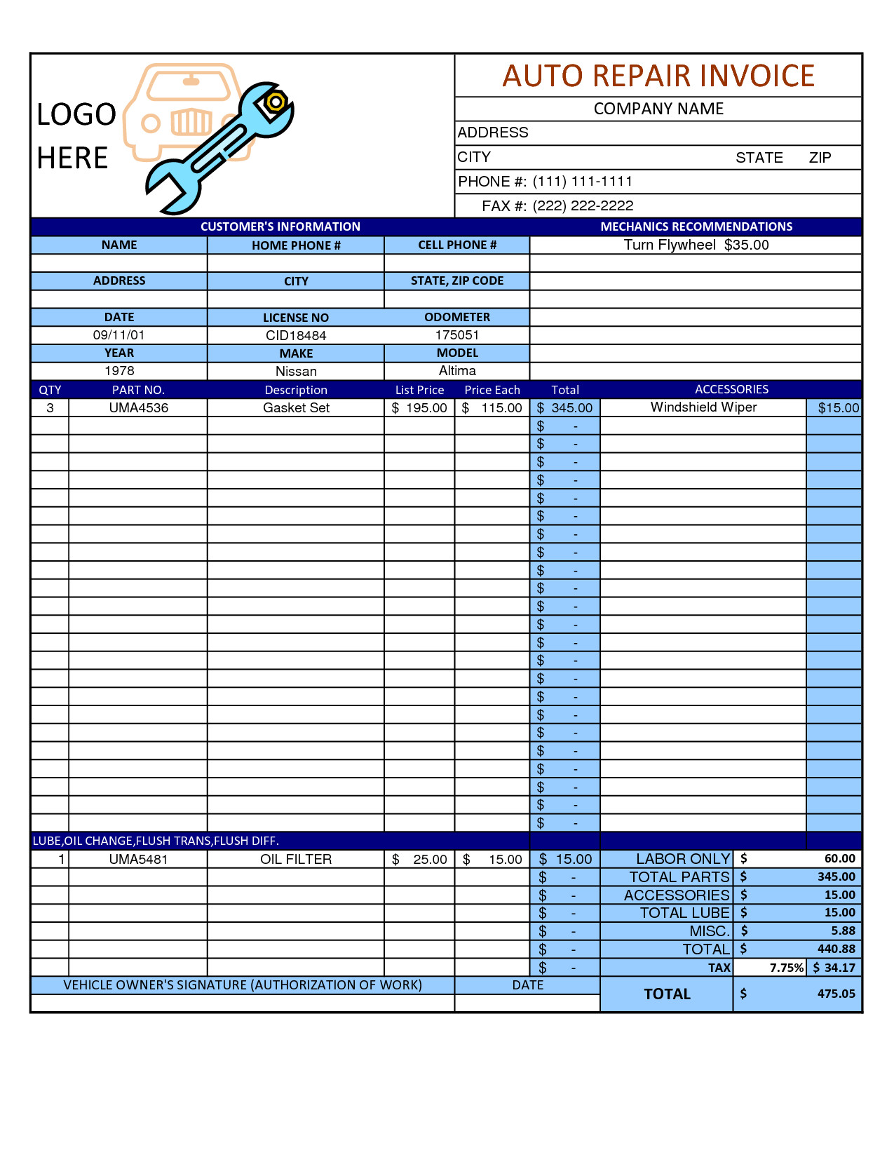 Auto Repair order Template Mechanic Shop Invoice