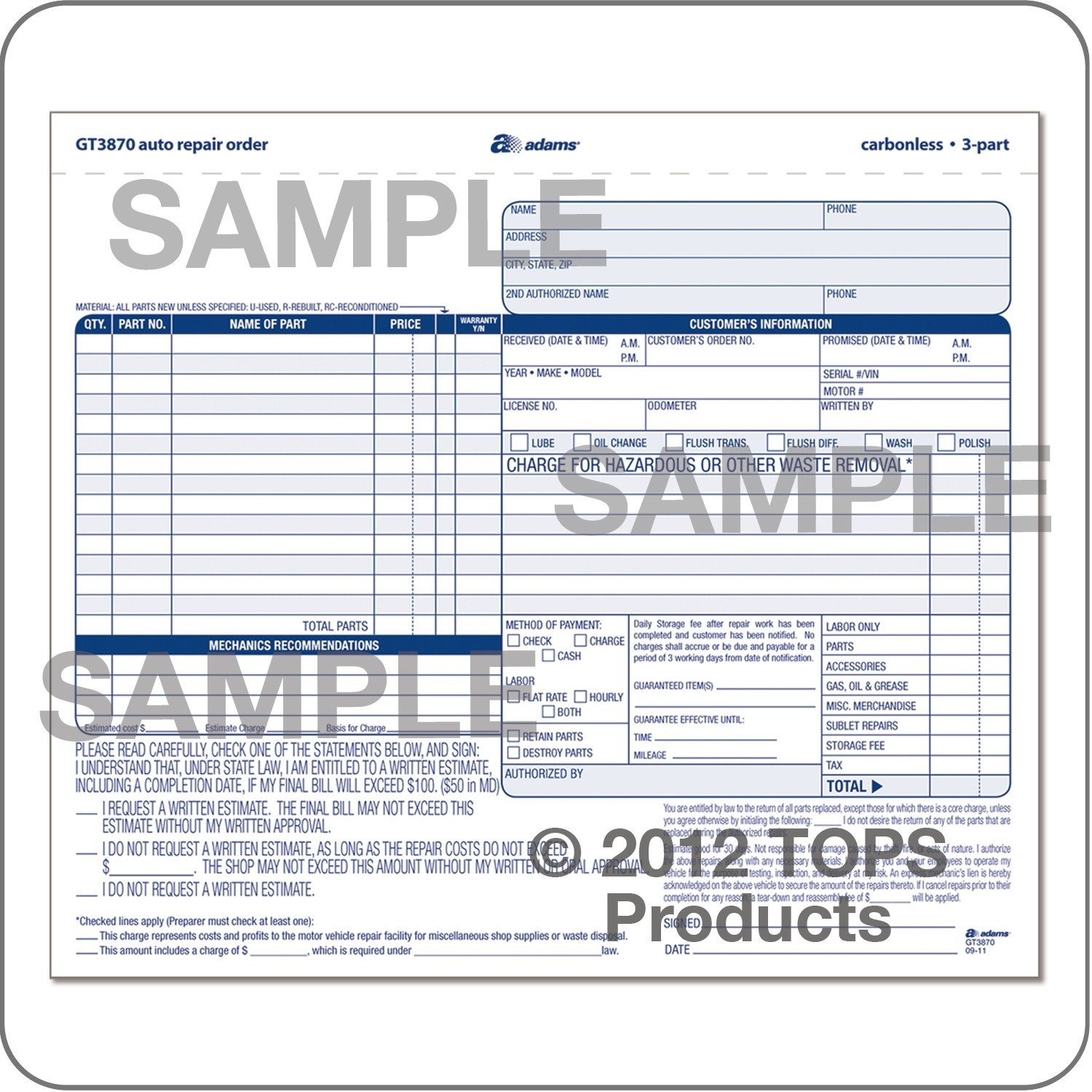 Auto Repair order Template wholesale Auto Repair order Abfgt3870 Discount Price