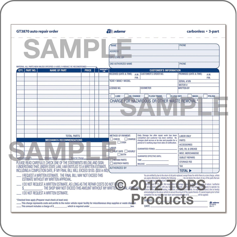 Auto Repair order Template wholesale Auto Repair order Abfgt3870 Discount Price