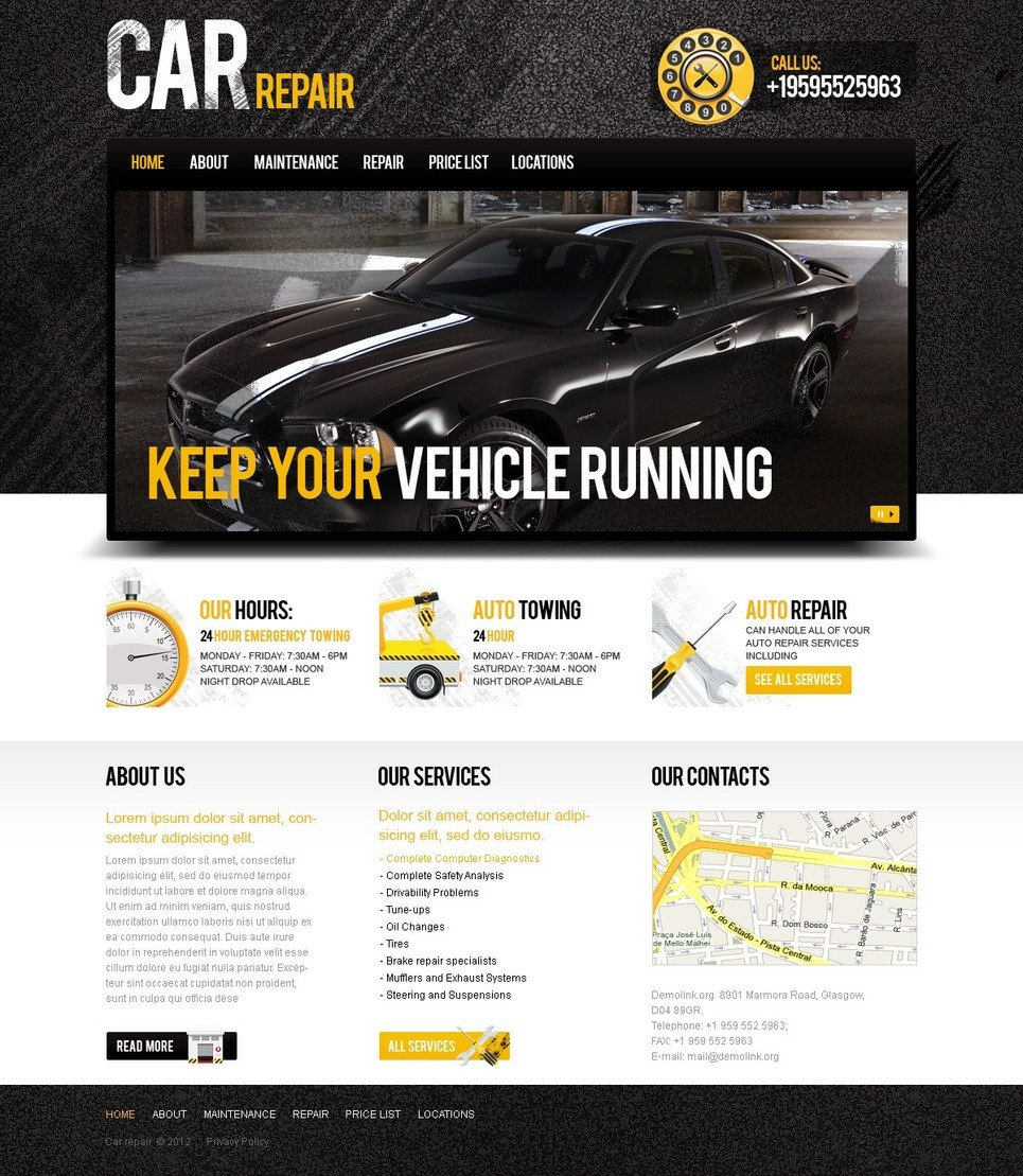 Auto Repair Website Template Car Repair Website Template