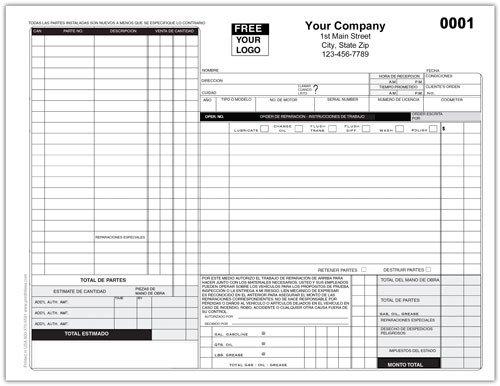 Automotive Repair order Template Free Auto Repair Work order