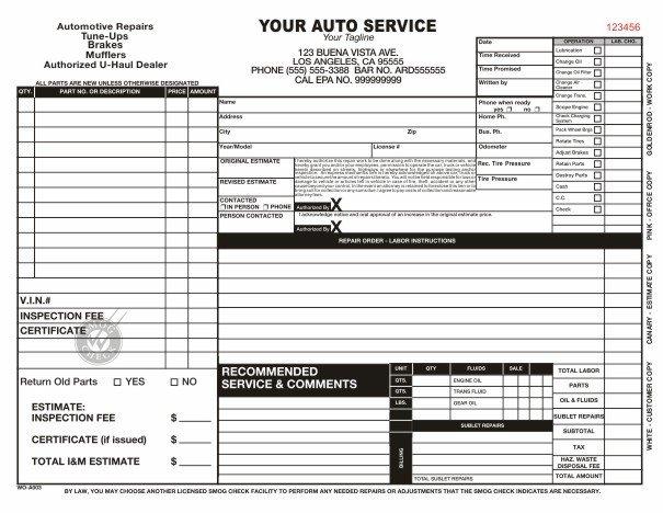 Automotive Repair order Template Free Automotive Work order Template