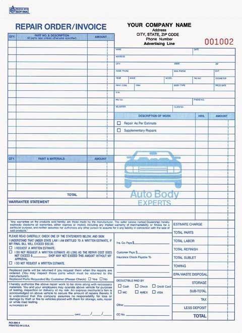 Automotive Repair order Template Free Mechanic Shop Invoice
