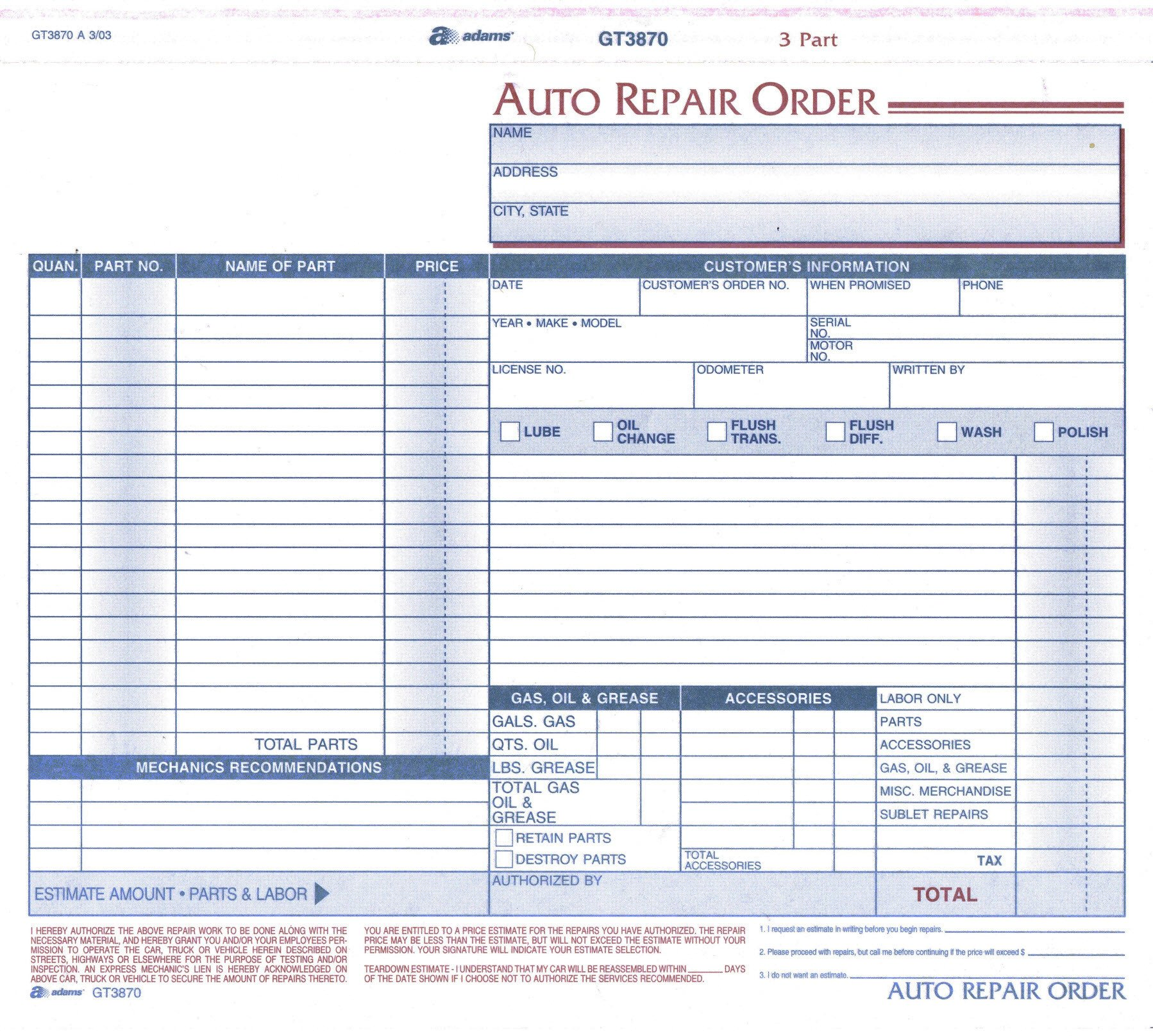 Automotive Repair order Template Free Product
