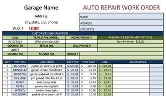 Automotive Repair order Template Free Work order form Template