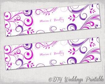 "Avery 22814 Word Template Water Bottle Label Template Diy Pink & Purple ""scroll"