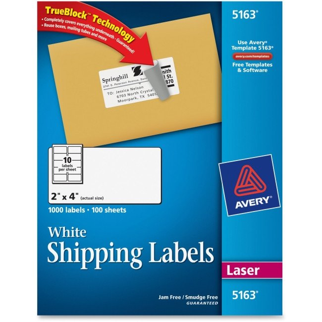 Avery 5163 Labels Template Avery 5163 Easy Peel White Shipping Labels Permanent