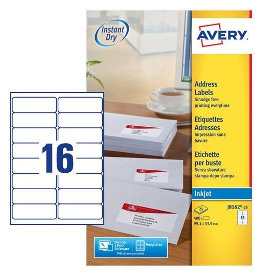 Avery 8162 Template for Word Address Labels J8162 25