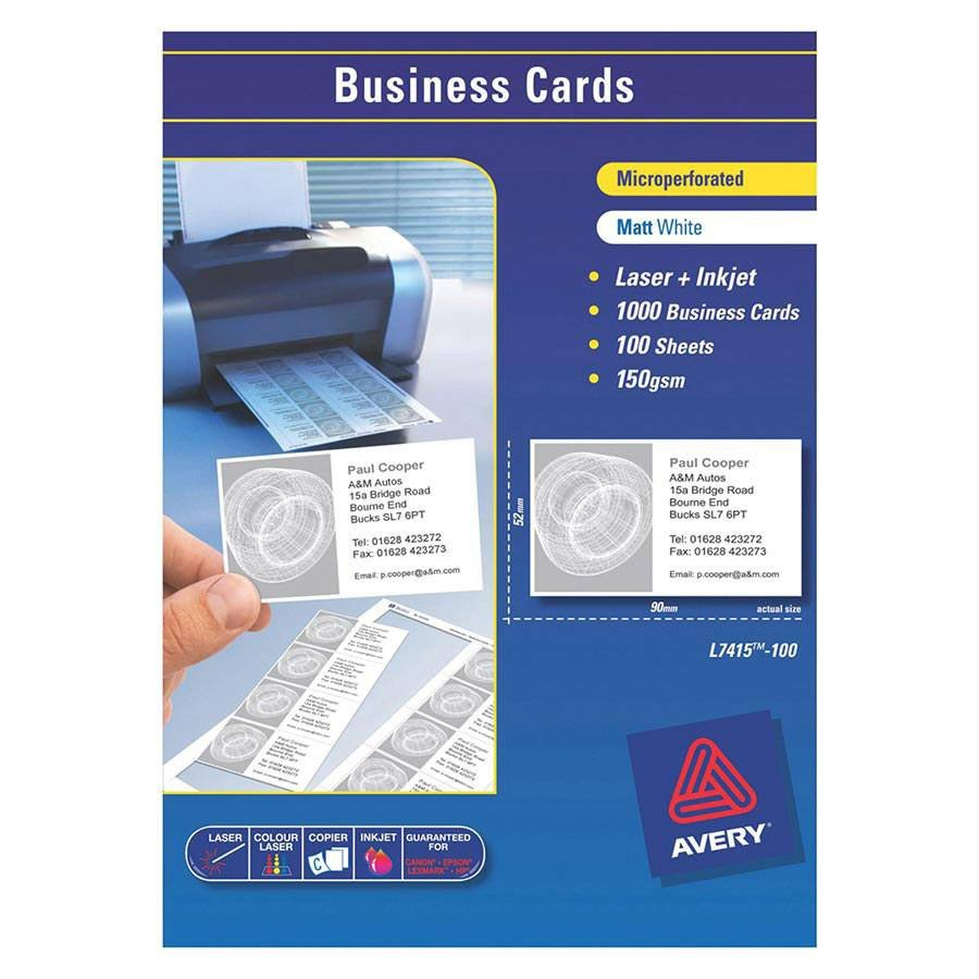 Avery Business Cards Template Avery Laser Business Cards L7415 90x52mm Labl5875