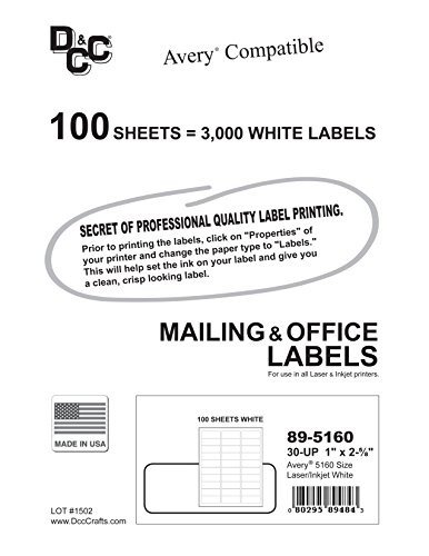 Avery Label Template 5960 3 000 Dcc Generic White Self Adhesive Address Labels 1 X