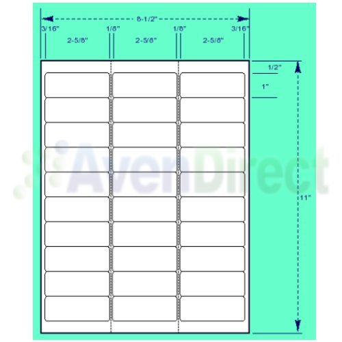 "Avery Label Template 5960 6000 Address Labels White Laser Inkjet 1""x2 5 8"" 5160"