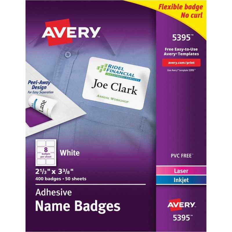 Avery Labels Name Badge Template Avery 5395 Flexible Adhesive Name Badge Labels the Fice