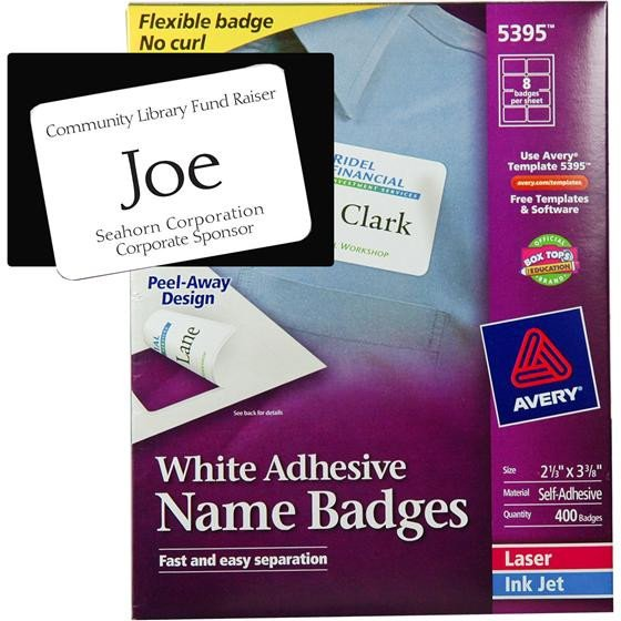 Avery Labels Name Badge Template Avery 5395 White Adhesive Name Badges 2 1 3 X 3 3 8""
