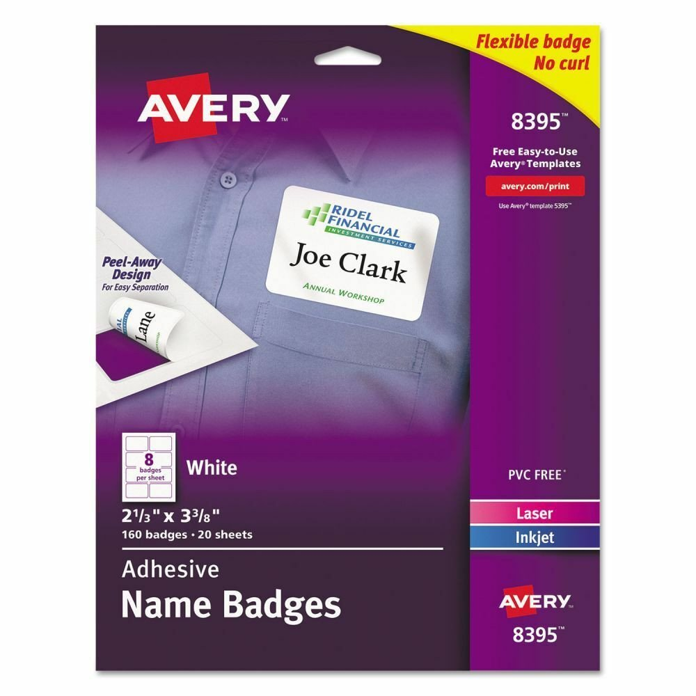 Avery Labels Name Badge Template Avery Adhesive Name Tags Ave8395