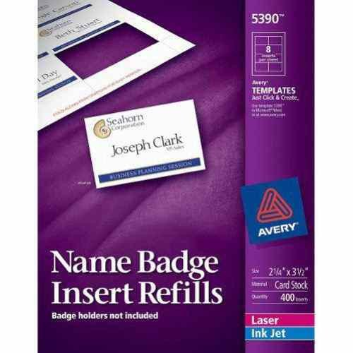"Avery Labels Name Badge Template Avery Name Badge Insert Refills 2 1 4"" X 3 1 2"" 8up 50"