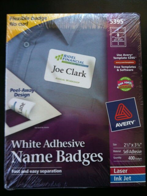 "Avery Name Badges Template 5395 Avery Dennison Ave 5395 Name Badge Label 2 33"" Width X 3"
