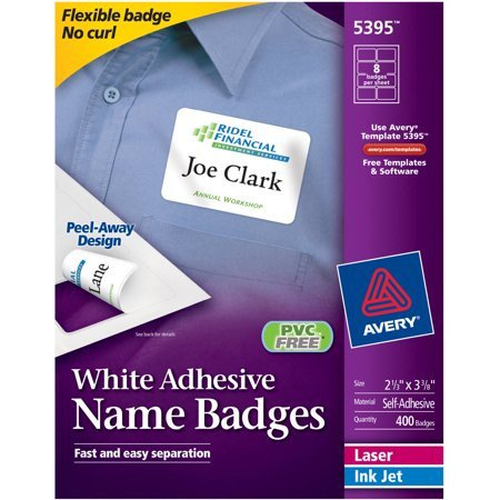"Avery Name Badges Template 5395 Avery White Adhesive Name Badges 5395 2 1 3"" X 3 3 8"