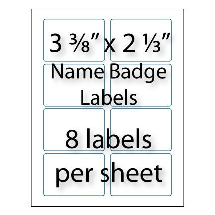 "Avery Name Badges Template 5395 Name Badge Labels 3 3 8"" X 2 1 3"""