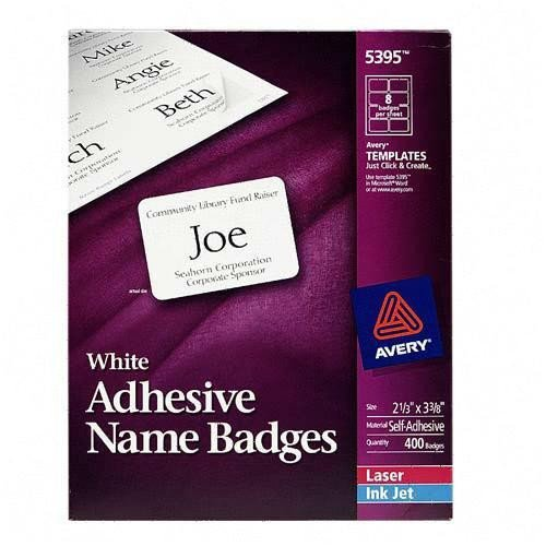 Avery Name Badges Template 5395 Printer