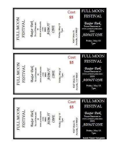 Avery Printable Tickets Template 41 Inspiring Templates Of Admission Ticket Thogati